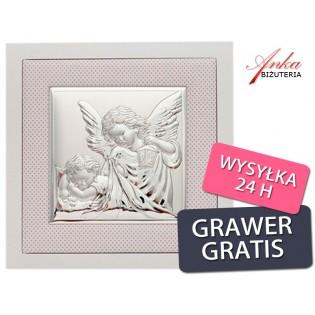 Aniołek z latarenką - Srebrny obrazek - Pamiątka na Chrzest, Roczek, I Komunię