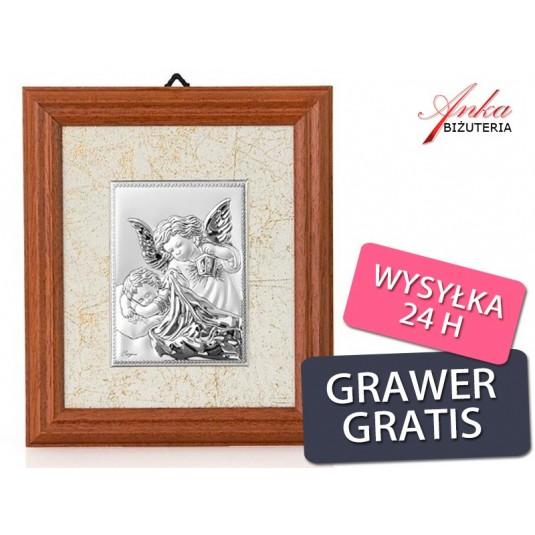 Obrazek srebrny Aniołek z latarenką w ramce drewnianej - Aniołek z latarnią pochylający się nad Dzieckiem-GRAWER