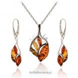 Srebrna biżuteria: Komplet biżuterii z bursztynem