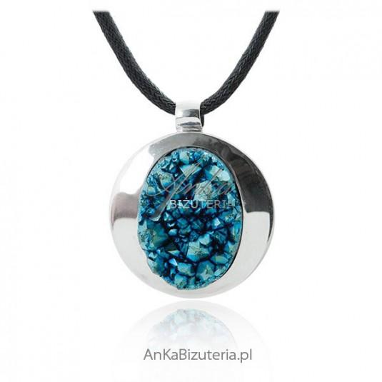 Artystyczna biżuteria srebrna - Naszyjnik srebrny druza agatowa