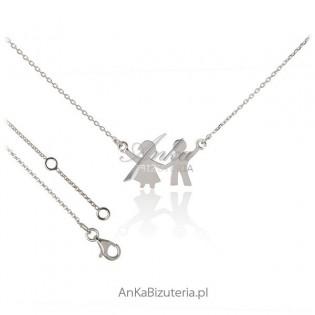 Naszyjnik srebrny włoski rodowany - Chłopiec i dziewczynka