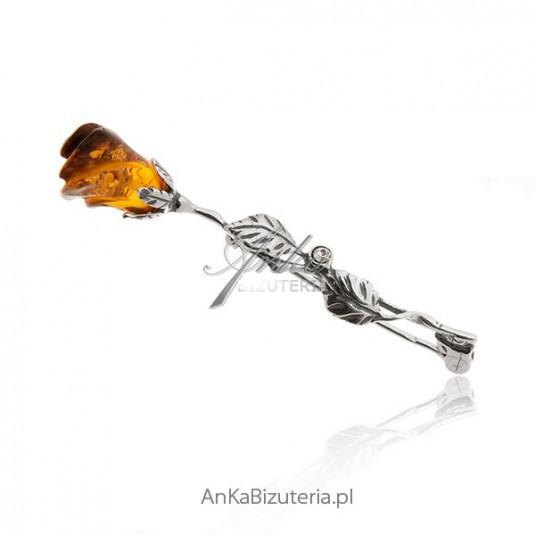 Broszka srebrna róża z bursztynem