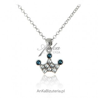Naszyjnik srebrne z kryształami Swarovski Korona