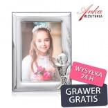 Ramka srebrna do zdjęcia życzenia - Prezent Komunię Świętą GRAWER