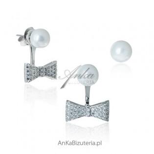 Kolczyki srebrne perły i cyrkonie