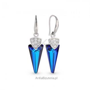 Kolczyki srebrne z kryształami Swarovski w kolorze Bermude Blue