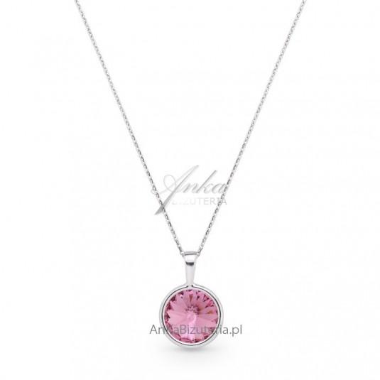 Biżuteria Swarovski: Naszyjnik srebrny Swarovski - różowy
