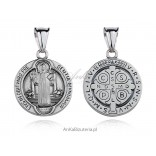 Medalik srebrny Św Benedykt