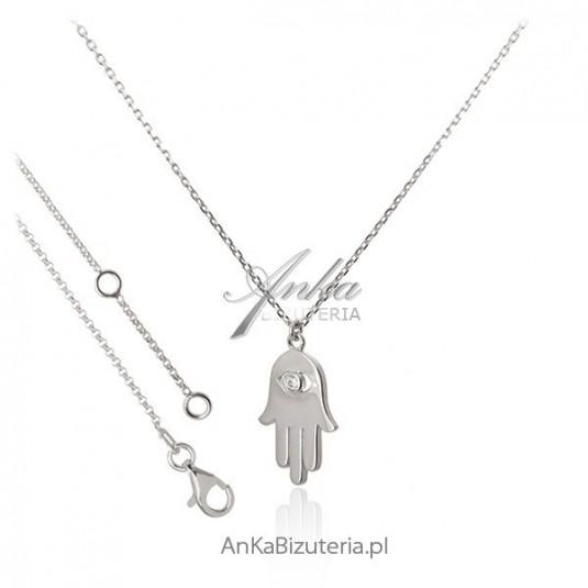 Modna biżuteria: Naszyjnik srebrny - Ręka Fatimy