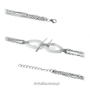 Modna biżuteria Bransoletka srebrna biała ceramika