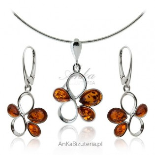 Biżuteria srebrna z bursztynem -Komplety