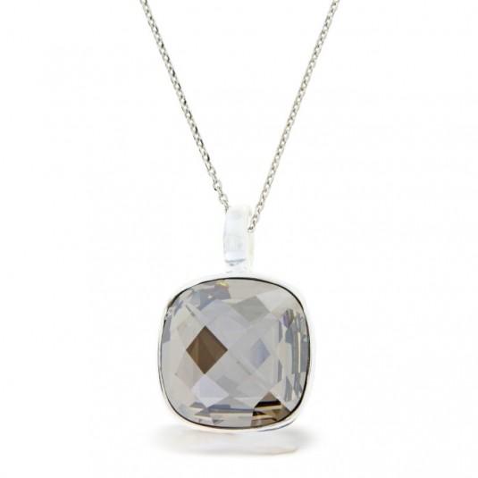 Swarovski Naszyjnik srebrny na łańcuszku z kryształem w kolorze Silver shadow -szary.