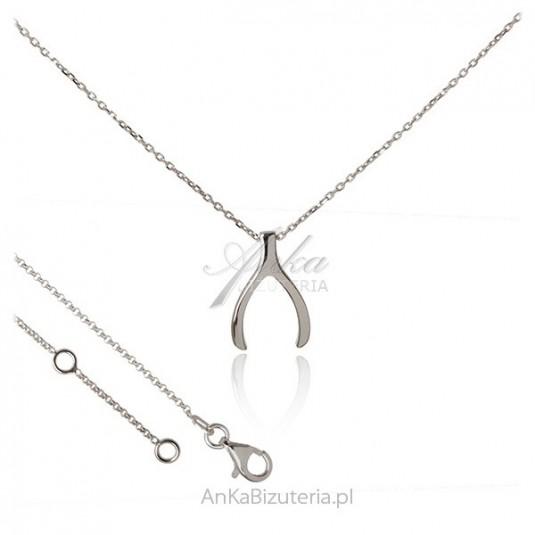 Naszyjnik srebrne - Kość szczęścia - Wishbone