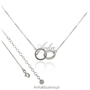 Modna biżuteria: Srebrny naszyjnik Dwa kółeczka