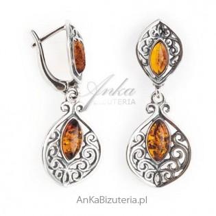 Biżuteria srebrna bursztyn Kolczyki srebrne z koniakowym bursztynem
