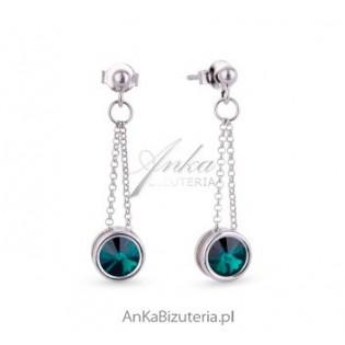 Biżuteria Swarovski Kolczyki srebrne Emerald - szmaragdowe