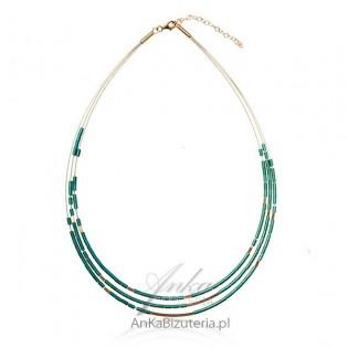 Elegancki naszyjnik srebrny pozłacany - zielony hematyt