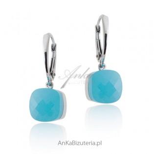Kolczyki srebrne - jasnoniebieski agat