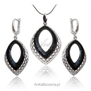Modna biżuteria - Komplet biżuterii oksydowany
