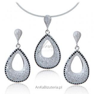 Komplet biżuterii srebrnej z cyrkoniamii