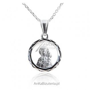 Medalik srebrny diamentowany Matka Boska Częstochowska