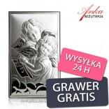 Obrazek srebrny Aniołki Pamiątka dla dziecka .GRAWER GRATIS