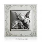 Obrazek srebrny Aniołki na białym tle Grawer gratis!