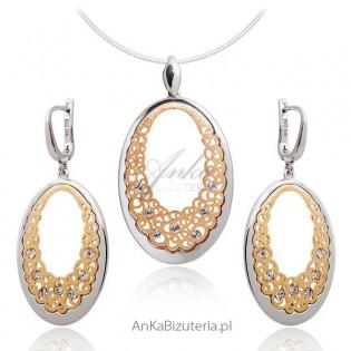 Elegancki Komplet biżuterii srebrnej
