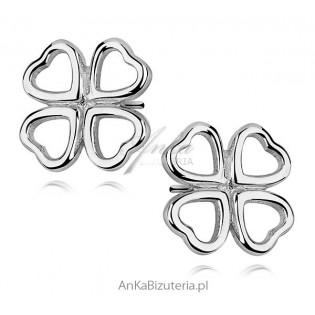 Kolczyki srebrne : koniczynki