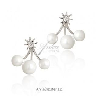 Kolczyki srebrne z cyrkoniami i perełkami