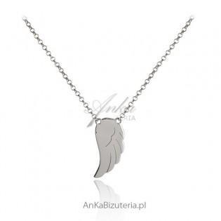 Delikatny naszyjnik srebrny Piórko