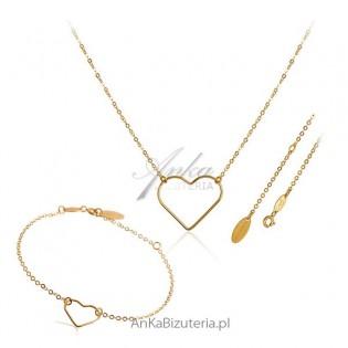 *Biżuteria srebrna* Komplet Biżuterii srebrnej pozłacany