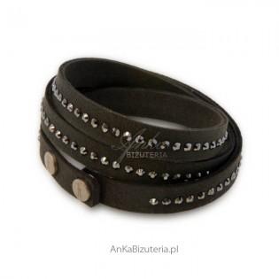 Bransoletka Swarovski Alcantra- czarna
