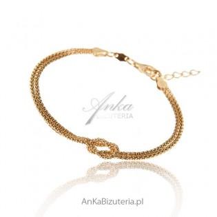Bransoletka srebrna pozłącana - biżuteria włoska