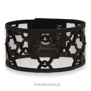 Bransoletka Swarovski alcantra -czarna Arabescque
