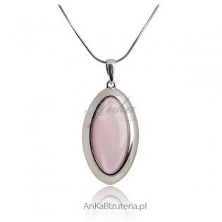 Zawieszka srebrna z różowym kamieniem