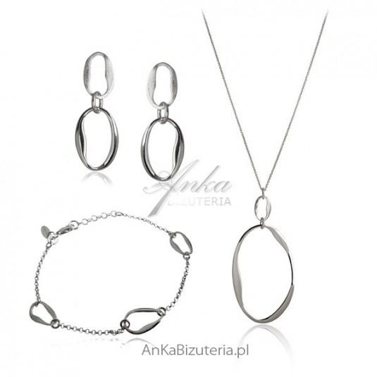 Elegancki Komplet biżuterii srebrny