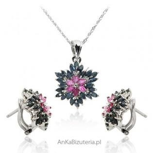 Komplet biżuterii srebrny z szafirem i rubinem