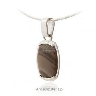 Wisiorek srebrny krzemień pasiasty