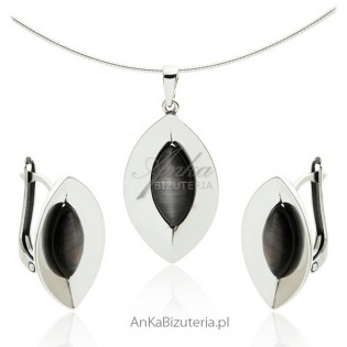Komplet biżuterii srebrny z szarym uleksytem