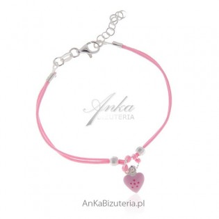 Bransoletka dziecięca na sznureczkach ze srebra - różowa