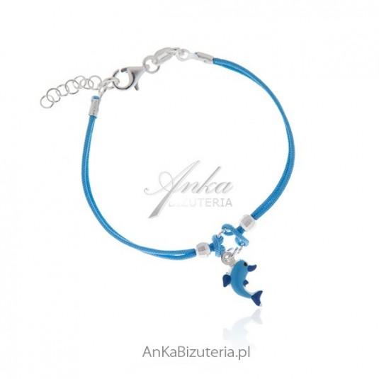Biżuteria dziecięca bransoletka srebrna na niebieskim sznurku