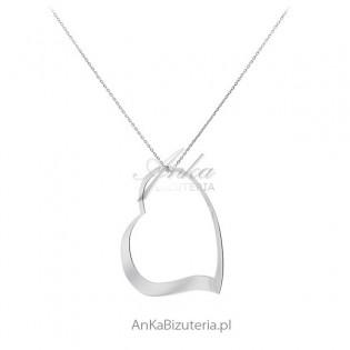 Duże serce - Naszyjnik srebrny rodowany na długim łańcuszku