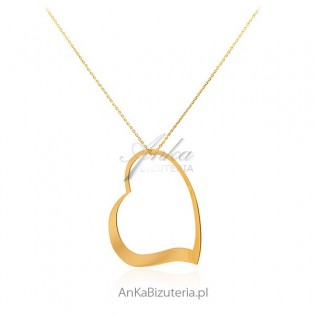 Naszyjnik srebrny pozłacany Serce - długi