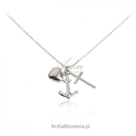 Wiara Nadzieja Miłość - Naszyjnik srebrny rodowany
