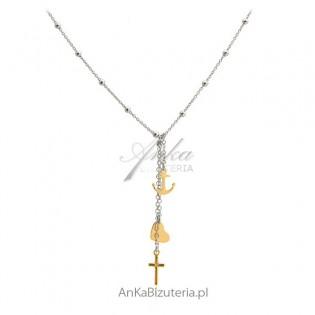 Naszyjnik srebrny Wiara Nadzieja Miłość