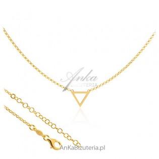 Naszyjnik srebrny pozłacany z trójkątem