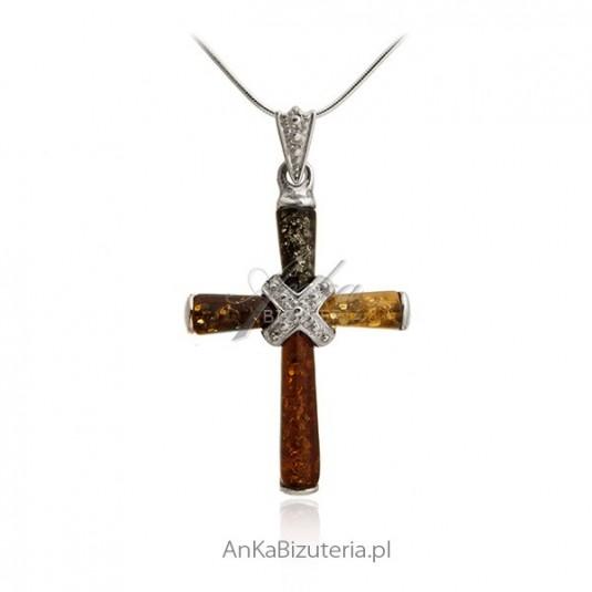 Biżuteria srebrna z bursztynem - Krzyżyk srebrny