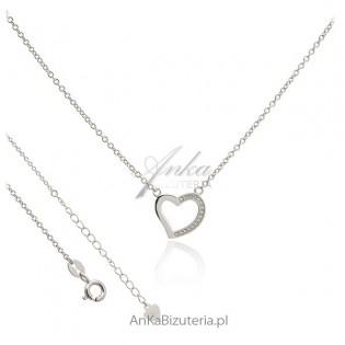 Biżuteria na Prezent - Naszyjnik srebrny z serduszkiem