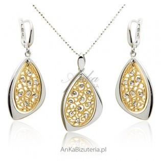 Elegancki Komplet srebrny -Biżuteria na Prezent